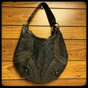 Isabella Fiore charcoal gray handbag gold accents